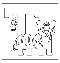 Tiger letter T coloring page vector image vector image