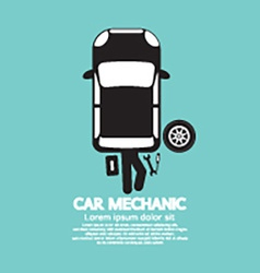 Car Mechanic Repairing Under Automobile vector image vector image