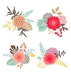 Collection of bouquets with flowers and leaves vector image