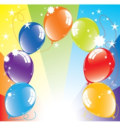 colorful balloons and light-burst vector image vector image