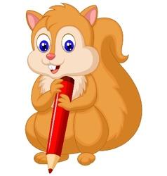 Cute squirrel cartoon holding pencil vector image vector image