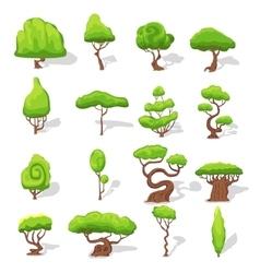 Fantasy Green Trees Set vector image vector image