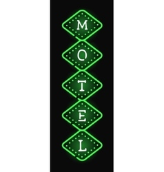 Glowing hotel sign with light neon bulbs retro vector image vector image