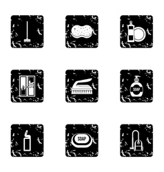 House cleaning on weekends icons set grunge style vector image