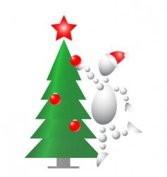man decorate Christmas fur tree vector image vector image