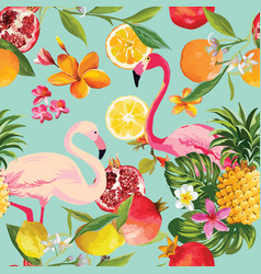 seamless tropical fruits and flamingo pattern vector image vector image