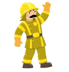 Serious firefighter or fireman in uniform vector