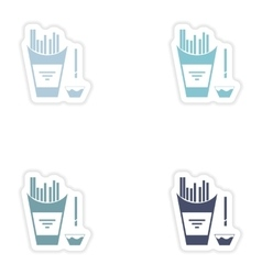 Set of paper stickers on white background french vector