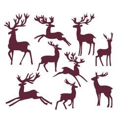 set of silhouette deer character vector image