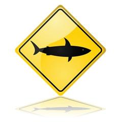 Shark warning sign vector image