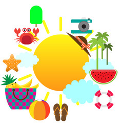 summer concept flat icons with place for text vector image