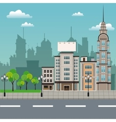 urban building street lamp post vector image