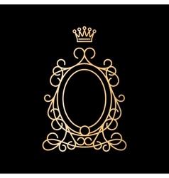 Golden vintage oval frame with crown vector image vector image