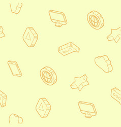 media outline isometric icons pattern vector image