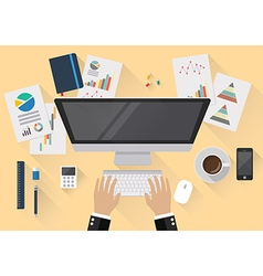 Office workspace flat style in top view vector
