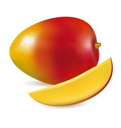 ripe fresh mango with slice vector image