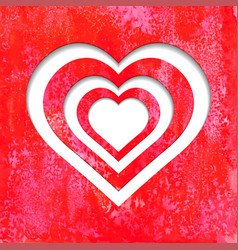 valentine hearts on red watercolor background vector image