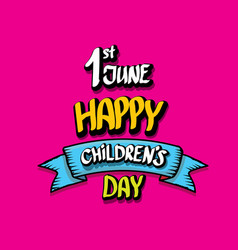 1 june international childrens day background vector