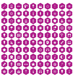 100 light icons hexagon violet vector image