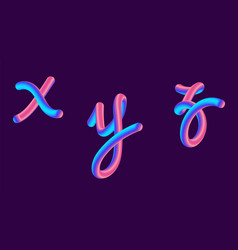 3d gradient lettering holographic font set with vector image