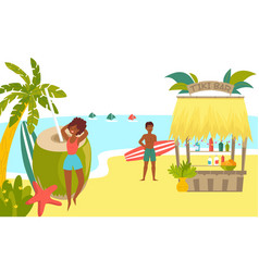 African character rest tropical beach surfing vector