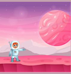 astronaut standing on the alien planet vector image