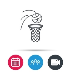 Basketball icon basket with ball sign vector