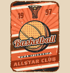basketball sport game ball basket and hoop vector image