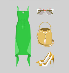 beautiful green dress with various accessories vector image