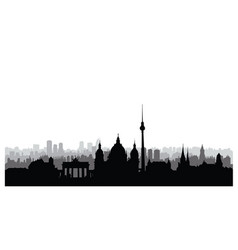 Berlin city buildings silhouette german urban vector