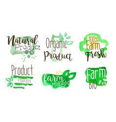 bio natural organic food labels set farm product vector image