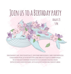Birthday party floral whale cartoon vector