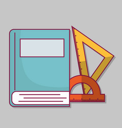 Book and rulers icon vector