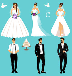 bride and groom couple wedding set collection vector image