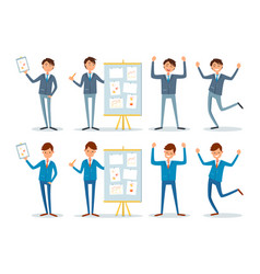 business seminar presenter with charts on board vector image