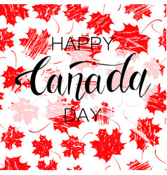 Canada day red maple leaves and text vector