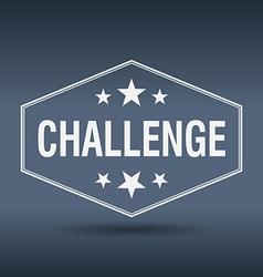 Challenge hexagonal white vintage retro style vector