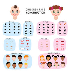 Child face constructor kids character of vector