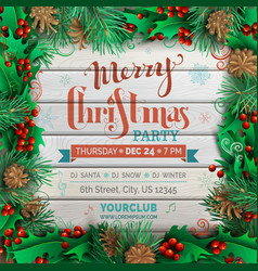 Christmas festive frame on light wooden background vector
