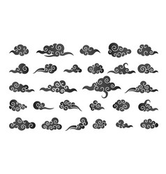 Cloud in chinese style abstract black cloudy set vector