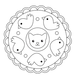 Coloring Bird And Cat Mandala vector image