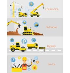 Construction Banner Concept Set vector image