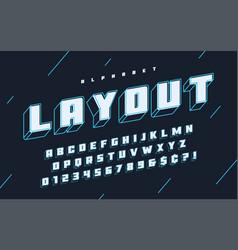 Cool 3d design of alphabet typeface font vector