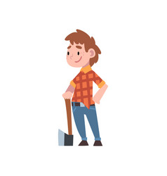 Cute boy dressed as lumberjack kids future vector