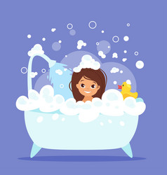 Cute kid girl taking bath vector