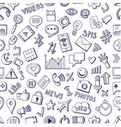 different social media icons in hand drawn style vector image