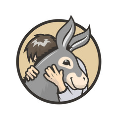 donkey hugs man hugs a cute vector image