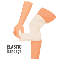 Elastic bandage on human hurt leg isolated vector