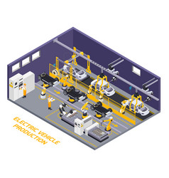 Electric vehicles production isometric vector