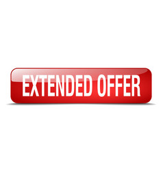 Extended offer red square 3d realistic isolated vector